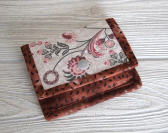Gift Card Wallet, Mini Wallet, Gift Card Holder, Rust Fabric Gift Card Wallet, Card Wallet, Fabric Mini Wallet, Fabric Gift Card Wallet