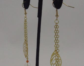 Gold Leaf Drop Earrings with Orange Accent