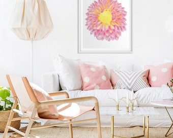 Pink chrysanthemum, Pink flower painting, Flower watercolor, Abstract flower art, Floral Room Decor, Pink flower decor, Floral wall art