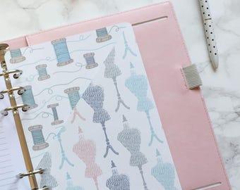 Sewing Theme Pocket Folder | Planner Pocket | Pocket Divider | Pocket Dashboard - A5