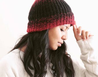 Knitted Winter Hats // Knitted Beanie // Unisex Beanie // Gifts for Men // Gifts for Women // Ombré Beanie in Cranberry & Black