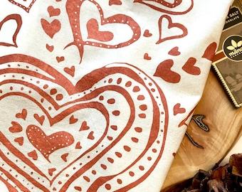 Hand printed Tea Towell, Hearts, Flour Sack Towel, Kitchen Towel, All Natural Cotton Towel, Tea Towel