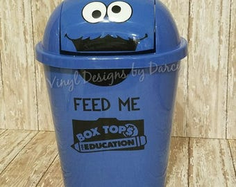 Box Tops for Education - Personalized Cookie Monster - Trash Can - Teacher Gift