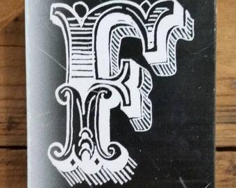 F Wood Block Stamp Alphabet Soup Wood Stamp