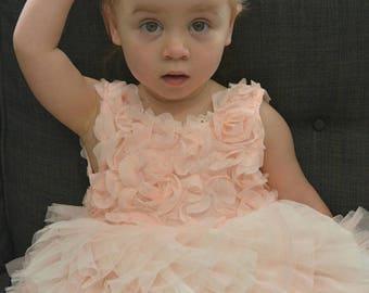 Beautiful Blush flower girl dress, tutu dress, pink dress, first birthday dress, stunning dress, daughter of the bride dress