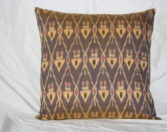 Gold and Grey Printed Ikat Cotton Pillow Cover