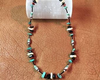 Turquoise Pipestone Obsidian Shell Necklace