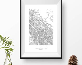Jasper National Park, Alberta, Canada | Topographic Print, Contour Map, Map Art | Home or Office Decor, Gift for Mountain Lover