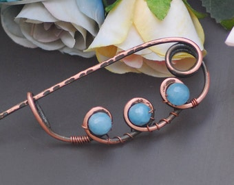 Copper scarf pin Antiqued copper Metal sweater brooch Wire wrapped brooch Shawl pin Kilt pin Celtic brooch Knitting gift Wire Coat Pin