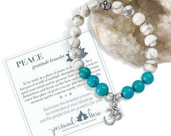 Meditation Bracelet, Yoga Gemstone Bracelet,Calming Bracelet,Turquoise Yoga Bracelet,Gift For Bestfriend,Ohm Beaded Bracelet,Energy Bracelet