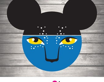 SVG Art File, Pandora, Avatar, Disney, Personalize, Jake Sully, Animal Kingdom, Na'vi, Mouse Ears, Eyes, Couples, Partners, Design, Clip Art