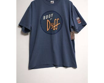 Vtg The Simpsons Body By Duff Beer Duffman Blue T-Shirt- Size Men's XL (Cotton)