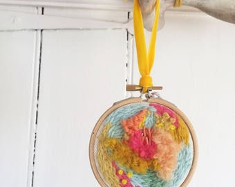 Colourful Embroidery and Embellished Hoop