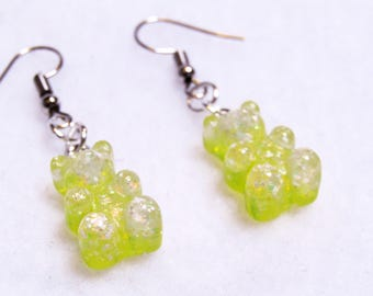 cute yellow sparkly gummy candy bear resin earrings