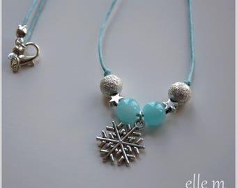 Snow Princess necklace, blue, snowflake pendant