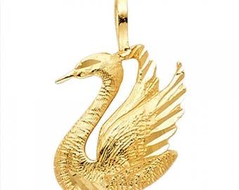 14K Solid Yellow Gold Swan Pendant - Bird Diamond Cut Necklace Charm