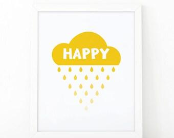 happy print, Quote print, happy little cloud, kids room decor, kids print, nursery print, wall art print, nursery wall art, Happy prinable