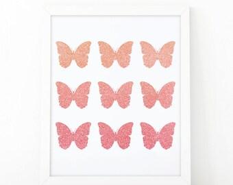 Butterflies print, Printable Nursery Art, Baby Girl Nursery Prints, Butterfly, Pink Gold, Kids Wall Art, printable art, pink wall art print