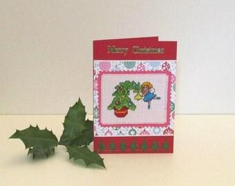 Merry Christmas Card, Handmade Cross Stitch Card, Xmas Greetings Card, Stitched Fairy Card, Xmas Tree Card, Embroidered Female Xmas Card