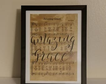 Amazing Grace Hand Lettered Sheet Music - Modern Calligraphy in a Black Frame