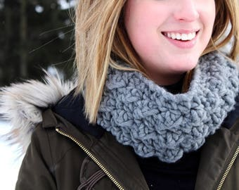 Grey Textured Cowl // Wool Crochet Cowl // Charcoal Gray Cowl // Gift for Her