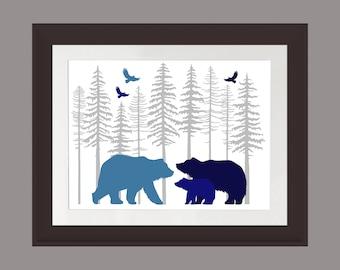 Blue Bear Wall Art, Nature Print, Bear Family Art Print, Rustic Cabin Art, Lodge Art Print, Bear Art Print, Fir Trees