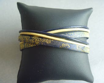 Darkblue/Yelow wrap bracelet of leather and trendy cord