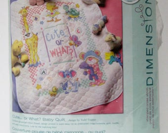 "Dimensions Cross Stitch Baby Quilt Kit, ""Cute...Or What?"" Stamped Cross Stitch Quilt Kit by Todd Trainer # 72724, 34"" x 43"", Multi-Lingual"