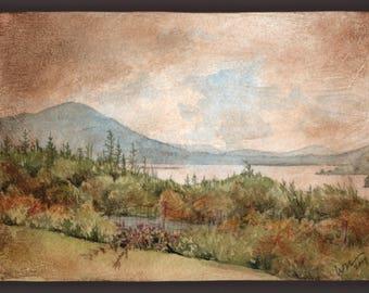 Orignal Painting - Connemara View - Watercolor and Gel Medium