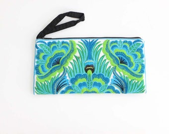 Handmade Blue Purse With Flower Embroidered Fabric