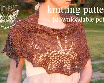 Cicada Shawl Knitting Pattern - PDF digital document download - how to instructions - fiber craft diy knit scarf shawl