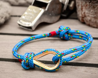 Handmade Customized Nautical Sailing Bracelet Gold blue color | Personalized Men present | Adjustable size, Unisex
