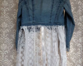 Upcyled Tattered Denim and Lace Jacket