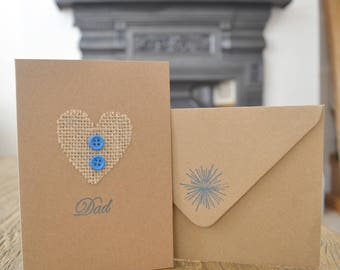 Dad Burlap Blue Button in Brown Card