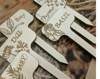 Herb Garden Stick Markers // Single Order // Wood Sticks // Dill // Bay // Thyme // Rosemary // Mint // Basil