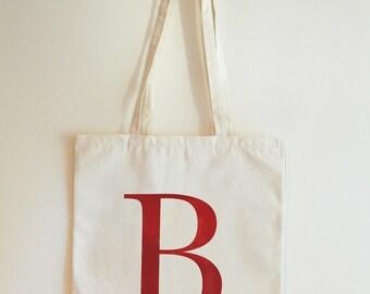 Personalised Monogram Beige Canvas Tote Bag