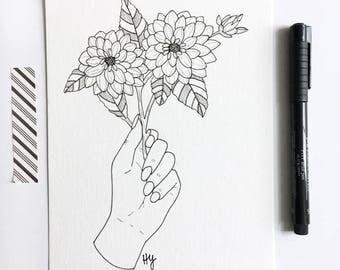 Botanical Illustration Wall Art, Floral Line Drawing, Black White Flower, Flora