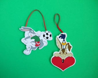 Vintage Looney Toons Christmas Ornaments, Bugs Bunny Ornament, Roadrunner Wile E Coyote, 1990s Looney Toons