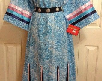 Native American Regalia *Nakoda Made* Pow Wow BLUE FLORAL Calico Ribbon Dress Size 10-12