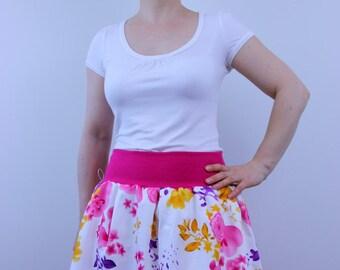 Pink flower skirt, A line skirt, women skirt, summer skirt, elastic waist skirt, straight skirt, knee length skirt, cotton skirt, boho chic