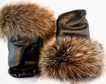 Leather and Raccoon Fur Mittens