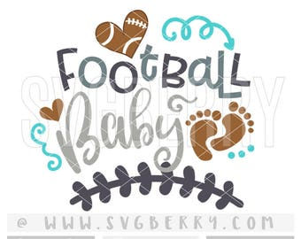 Football Baby SVG / Gender Reveal Football Baby Announcement SVG / Football Baby Shower Gift Football Baby Boy Onesie Cut Cutting Files / Bk