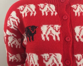 Vintage Formations 100% Wool Red Cardigan Sweater with White & Black Sheep/Hand Crafted in New Zealand/Size XL