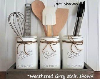 Mason Jar Decor, Mason Jar Utensil Holder, Kitchen Organization, Farmhouse Kitchen, Farmhouse Decor, Kitchen Decor, Rustic Decor