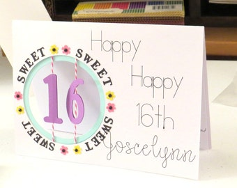 16th Birthday Card, Sweet 16, Card For Daughter, Niece, Granddaughter, Cut Out Card, Sixteen years Old, Window Age Display, Happiness