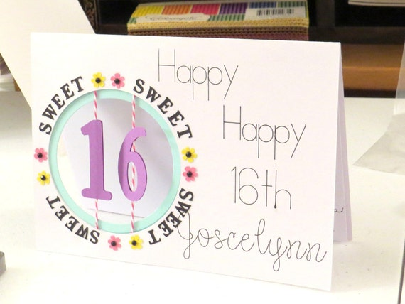 16th birthday card sweet 16 card for daughter niece like this item bookmarktalkfo Gallery