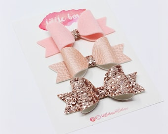 Rose gold and blush pinks glitter, felt and faux leather Sweetie bows, on hair clips or headband