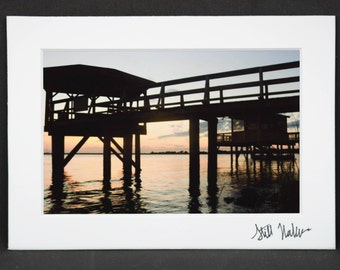 Dock at Sunset Print, Sunset matted Photo, Nature Photography, Tybee Island Georgia, house decor, wall art for summer, beach house gift