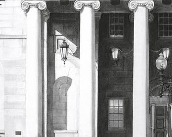"""DC Courthouse Charcoal Drawing Print: """"Court"""" 8""""x10"""" (Limited Edition)"""