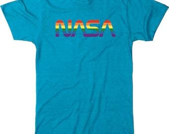 NASA Rainbow Print 70s Worm Logo Men's Tri-blend T-Shirt